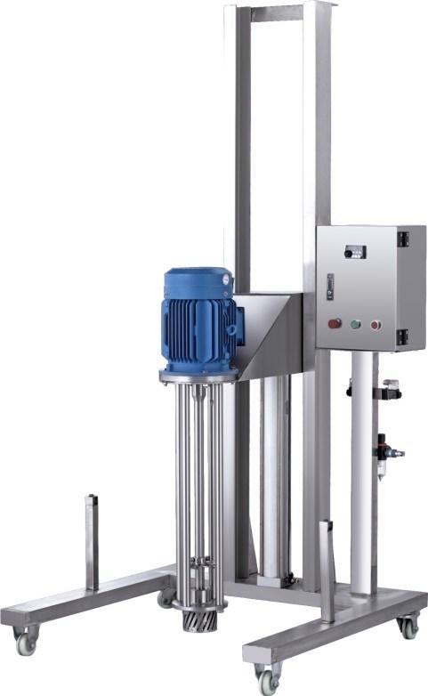 Pneumatic Lift Homogenizer Disperser for Making Cosmetic Products